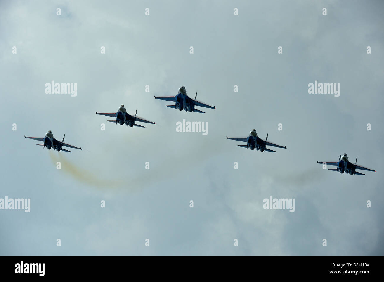 March 27, 2013 - Sukhoi Su-27 Flanker aircraft of the Russian Knights aerobatic team fly over Langkawi, Malaysia. - Stock Image