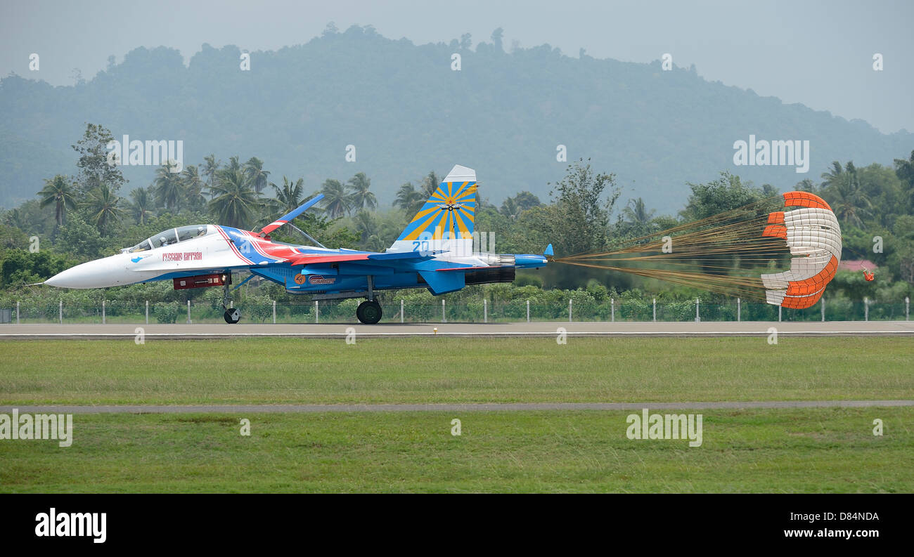 March 28, 2013 - A Sukhoi Su-27 Flanker of the Russian Knights aerobatic team landing at Langkawi, Malaysia. - Stock Image