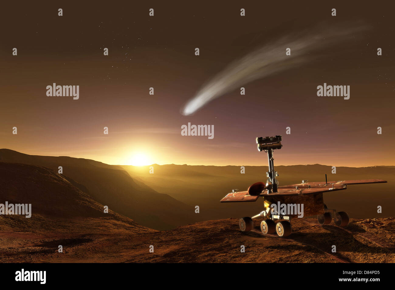 The comet of 2014 makes a close approach to Mars and puts on a spectacular show for the Opportunity Mars Exploration - Stock Image
