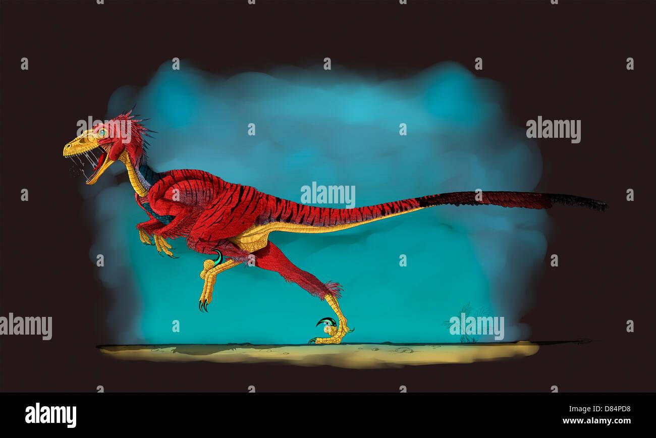 Deinonychus, a genus of carnivorous dromaeosaurid dinosaur. - Stock Image