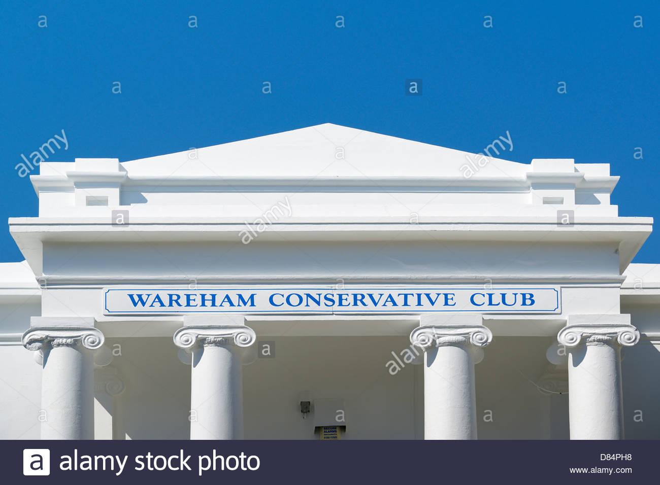 Wareham Conservative club portico, Wareham, Dorset England UK - Stock Image