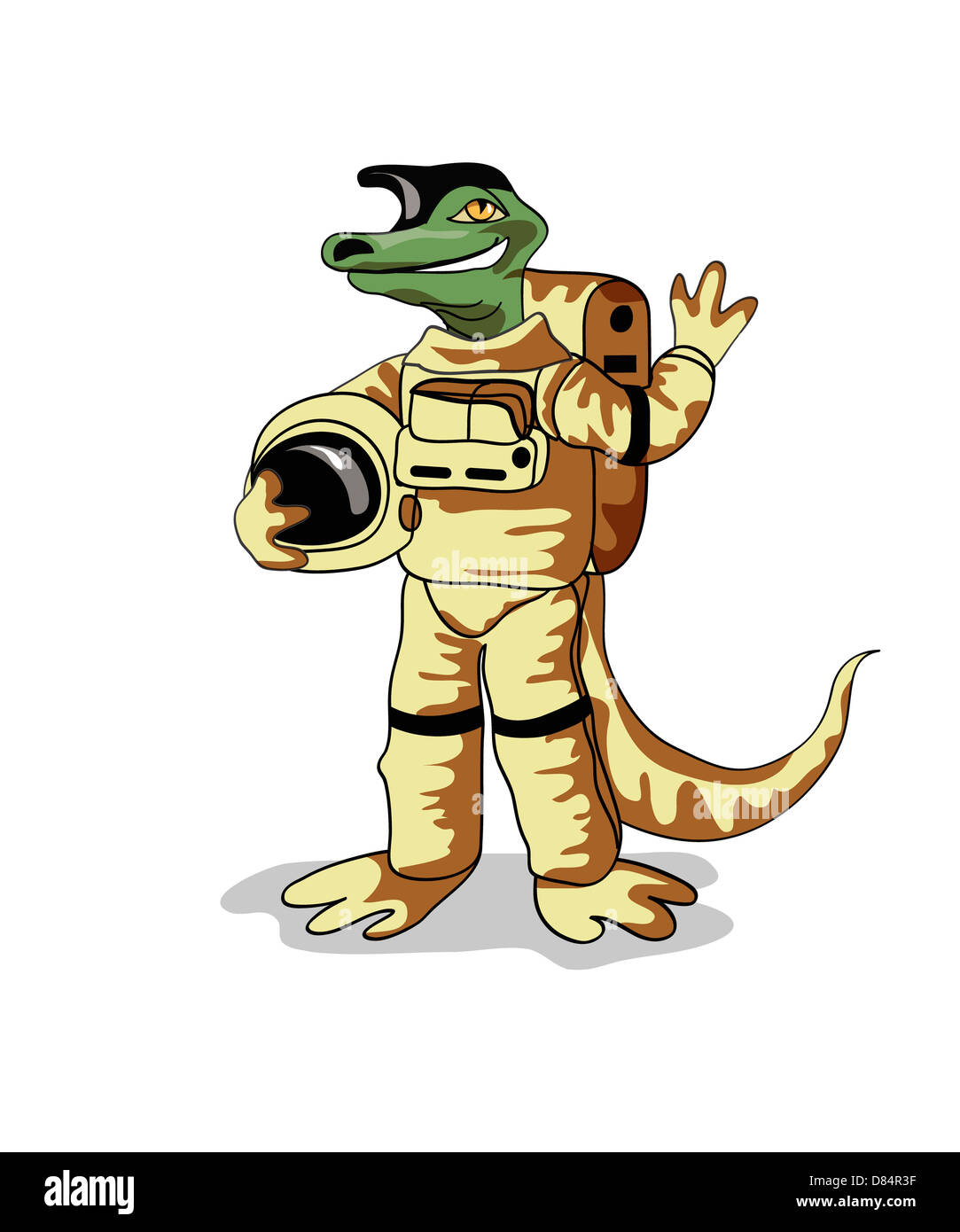 Illustration of an Iguanodon dinosaur dressed in a cosmonaut spacesuit. - Stock Image