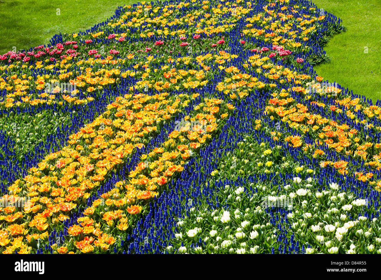 A floral design depicting Big Ben and Tower Bridge at the world famous Keukenhof Gardens, Lisse, Amsterdam, Holland., - Stock Image