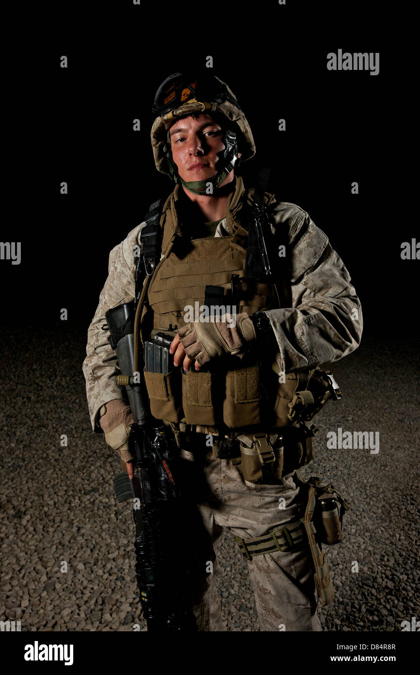 Portrait of a U.S. Marine in Afghanistan. - Stock Image