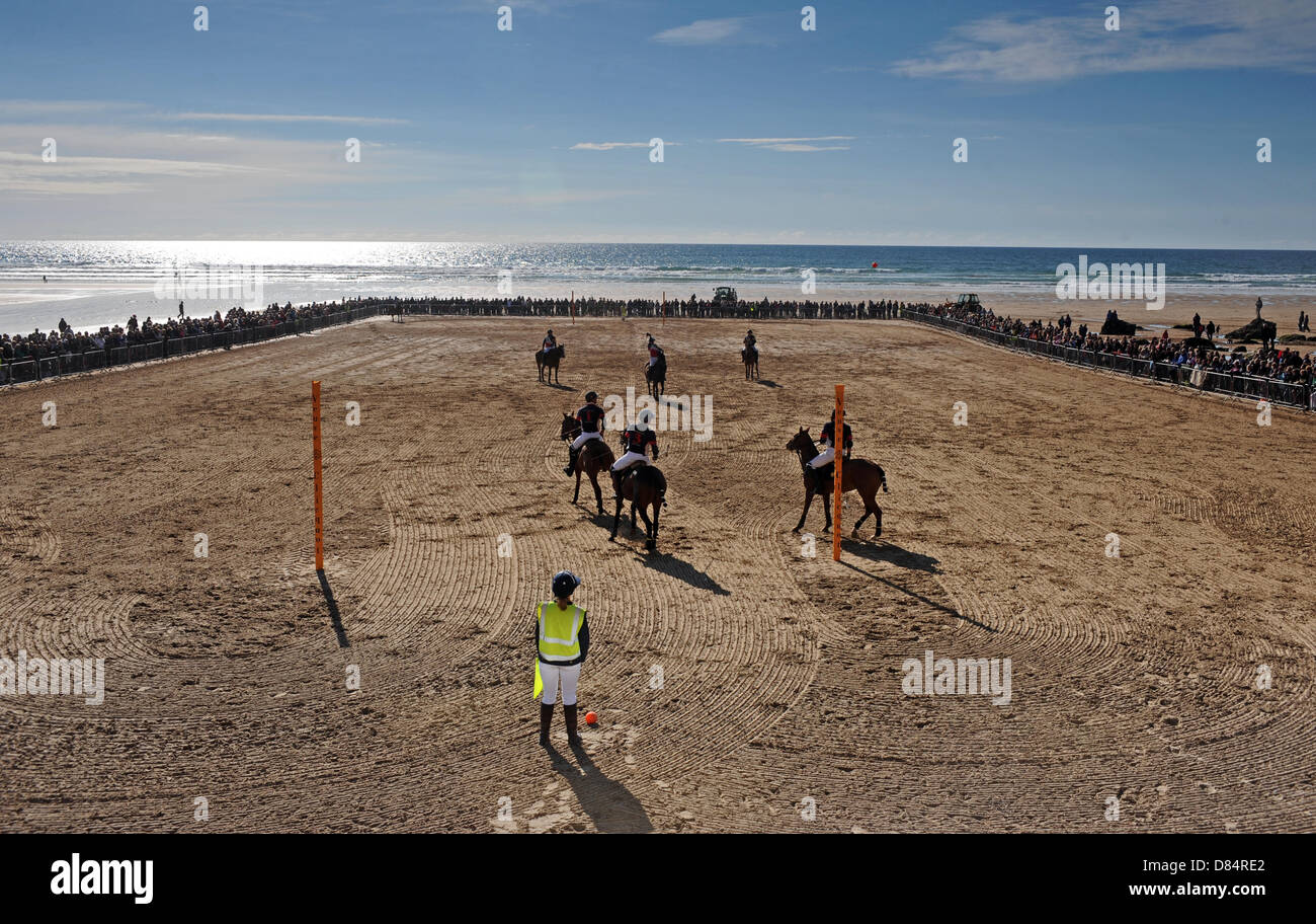 Polo on the Beach, Watergate Bay North Cornwall 19th May 2013 - Stock Image