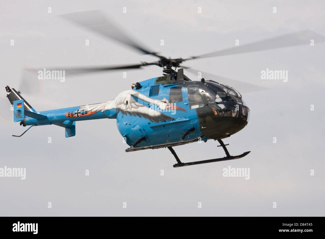 A Bolkow Bo-105 liaison helicopter of the German Army's support squadron in special colours. - Stock Image