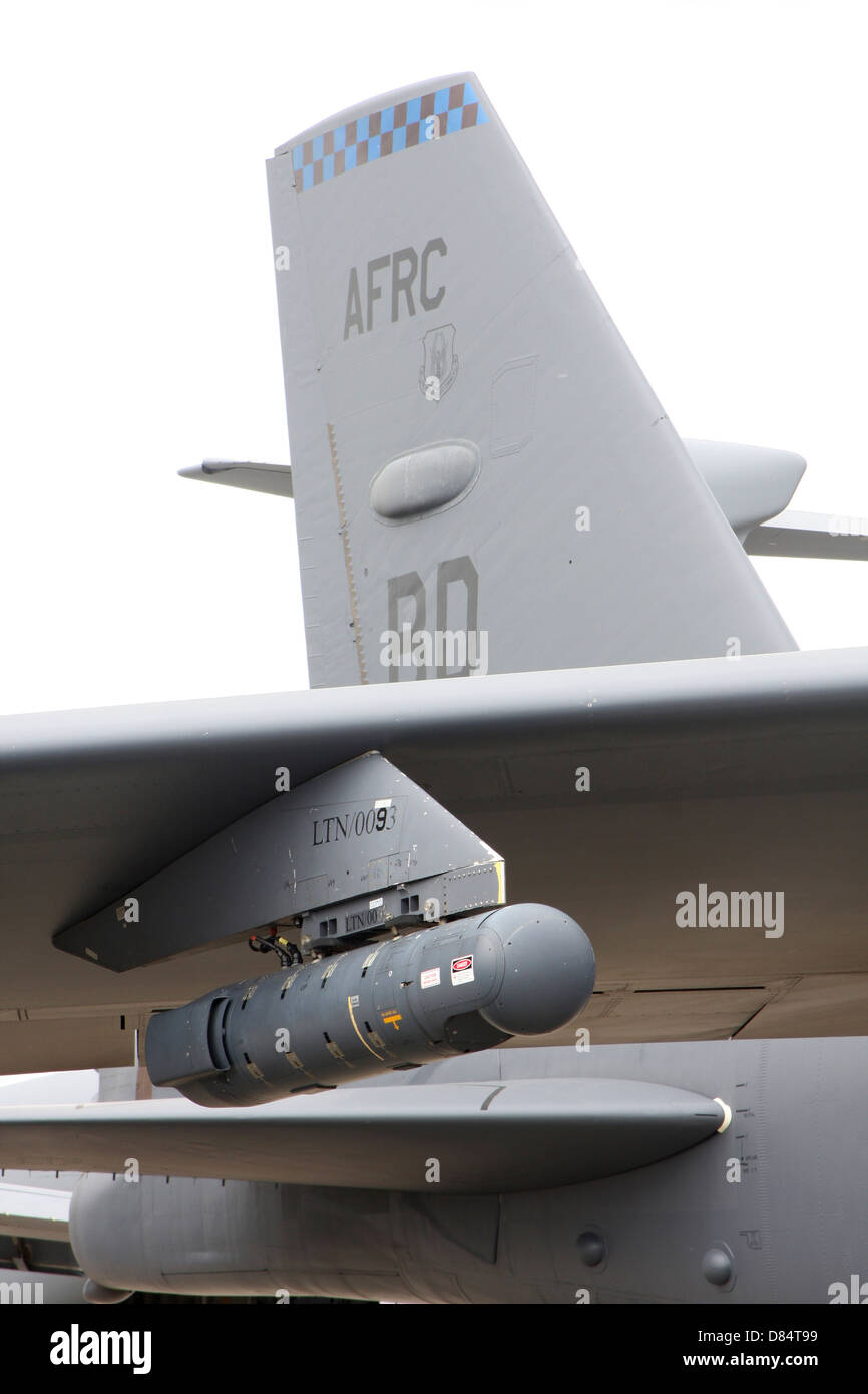 Close-up of an AN/AAQ-28(V) LITENING targeting pod on a B-52H Stratofortress of the Air Force Reserve. - Stock Image