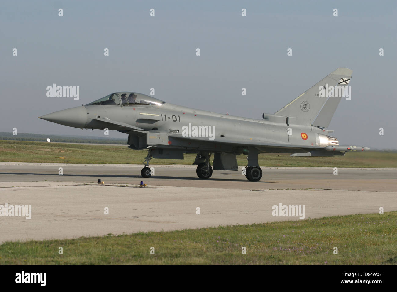 A Eurofighter Typhoon of the Spanish Air Force taxiing to the runway at Moron, Spain. - Stock Image