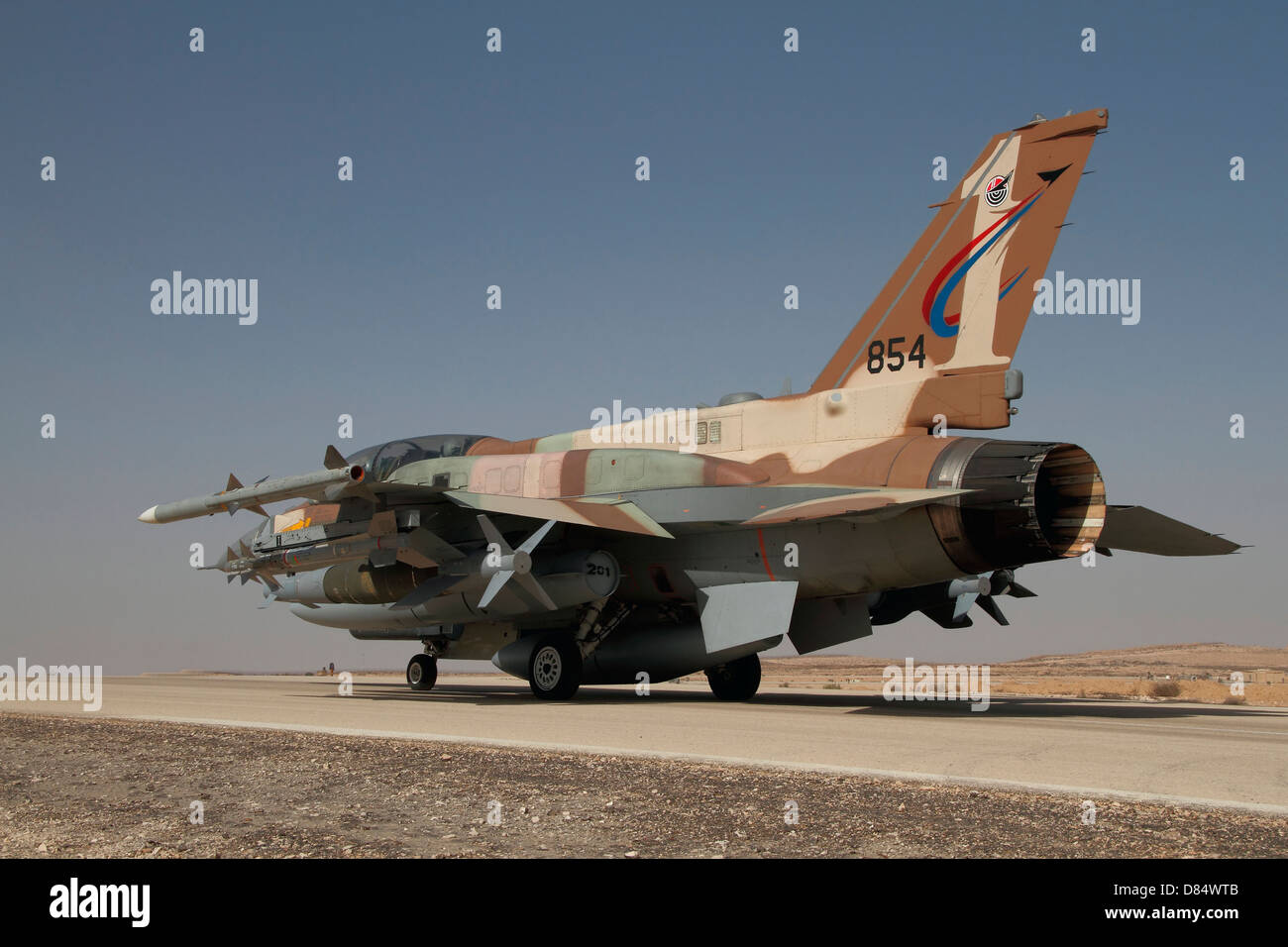 An F-16I Sufa of the Israeli Air Force taxiing on the runway. - Stock Image