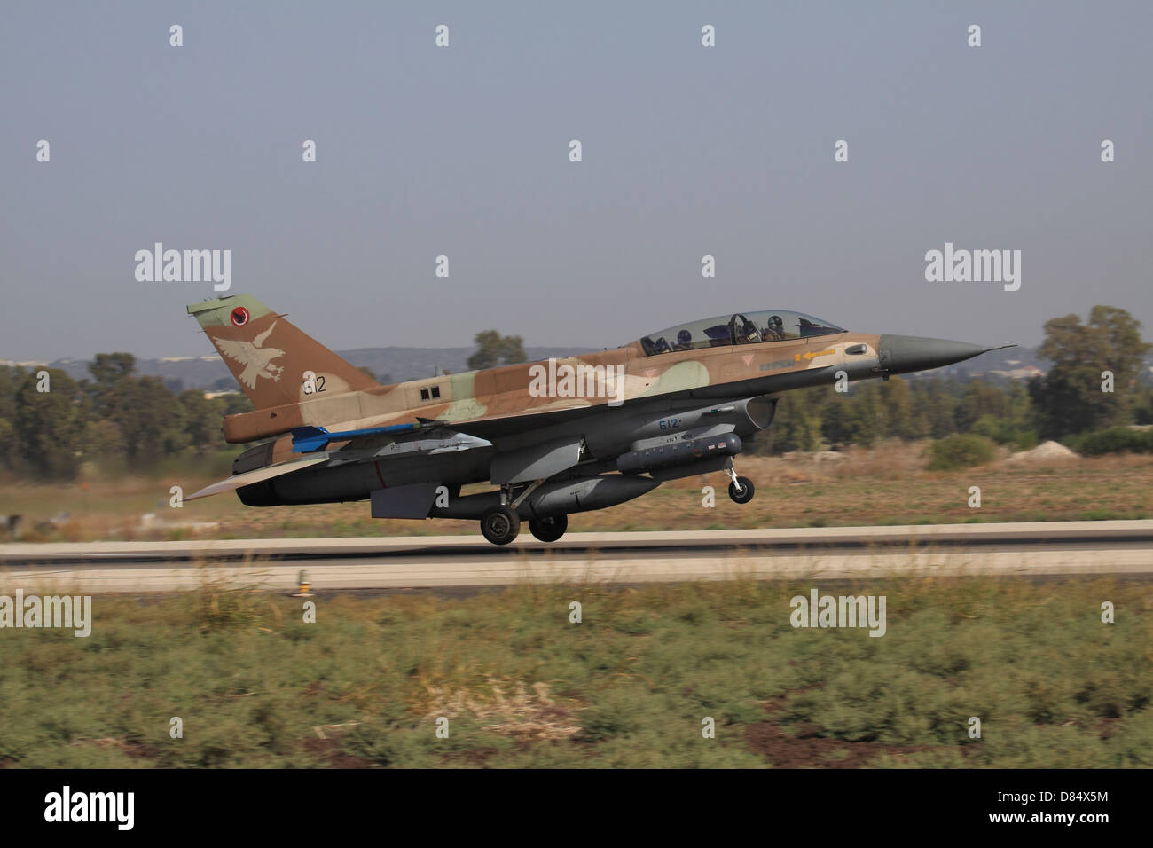 An F-16D Barak of the Israeli Air Force taking off from Ramat David Air Force Base in Israel. - Stock Image