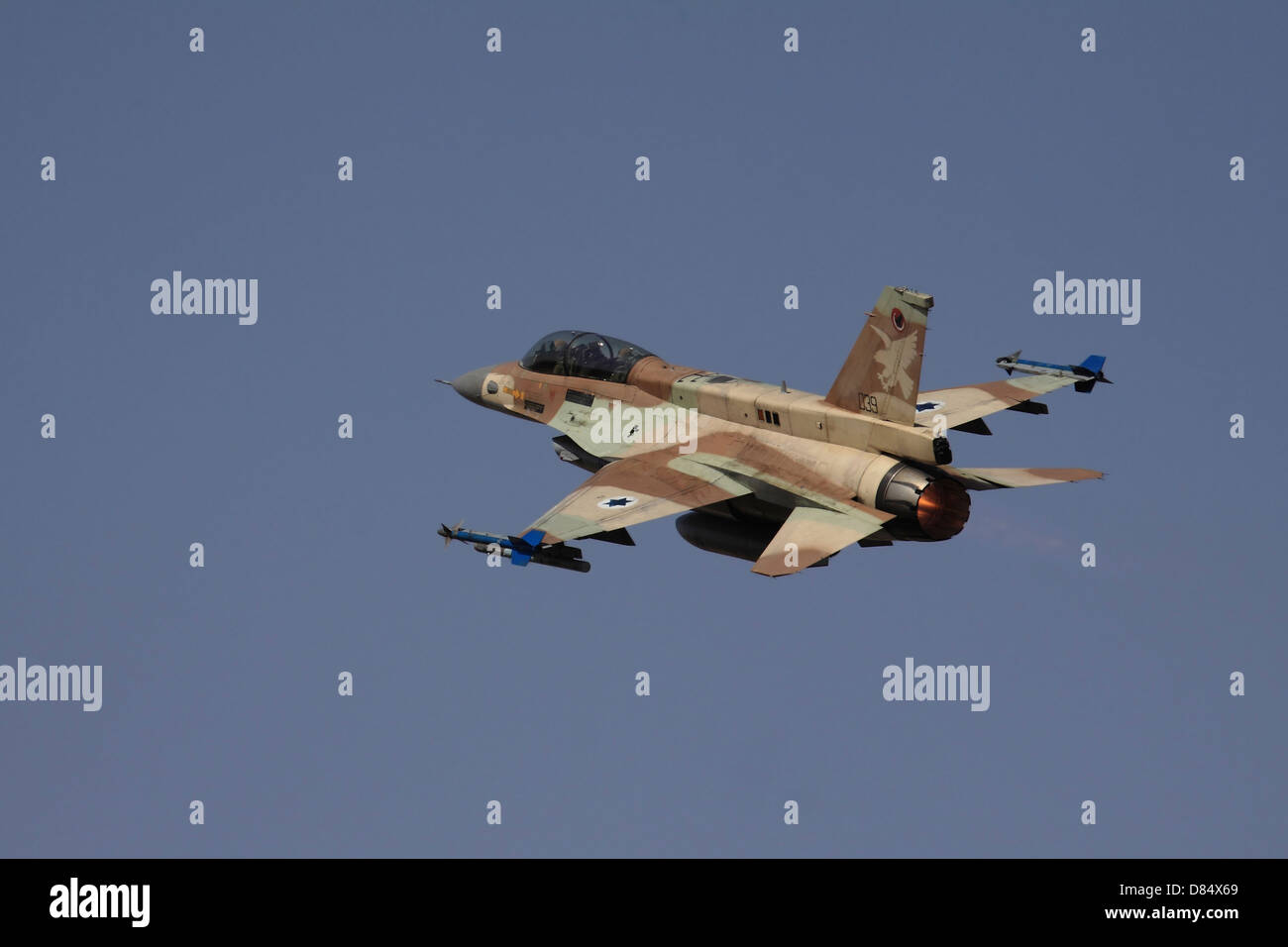 An F-16D Barak of the Israeli Air Force flying over Ramat David Air Force Base in Israel. - Stock Image