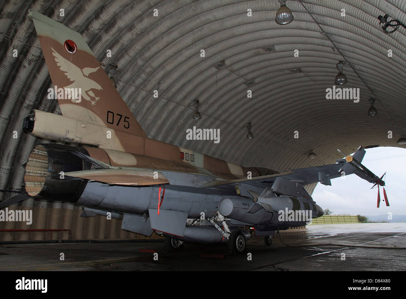 An F-16D Barak of the Israeli Air Force armed with JDAM bomb. - Stock Image