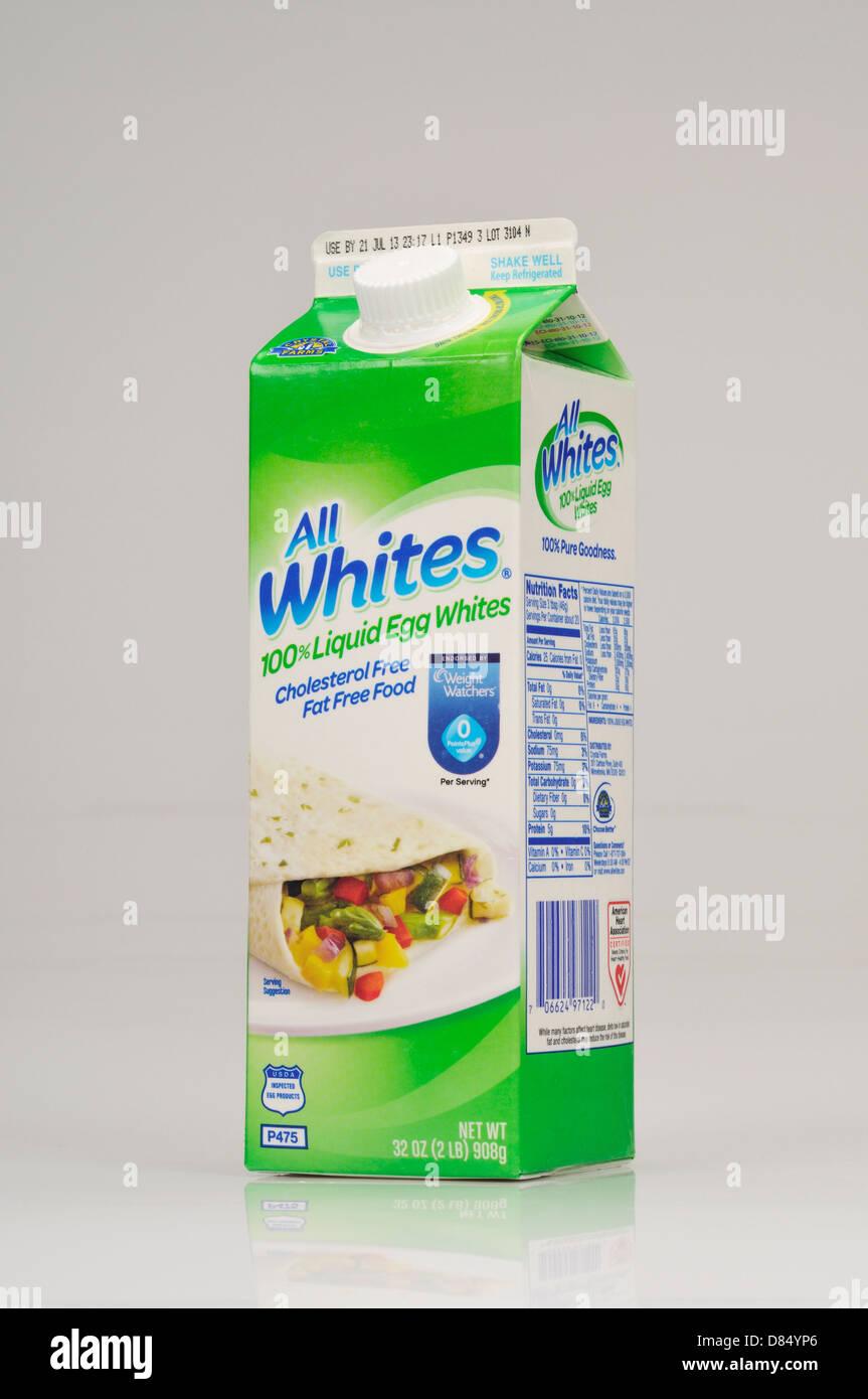 Carton of All Whites liquid egg whites on white background cutout, USA. - Stock Image