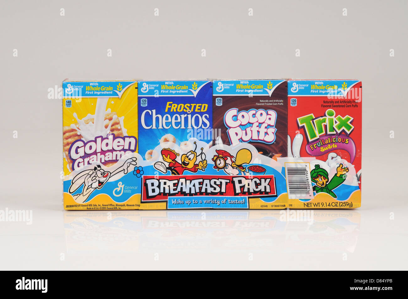 General Mills cereal breakfast pack on white background cutout. USA - Stock Image