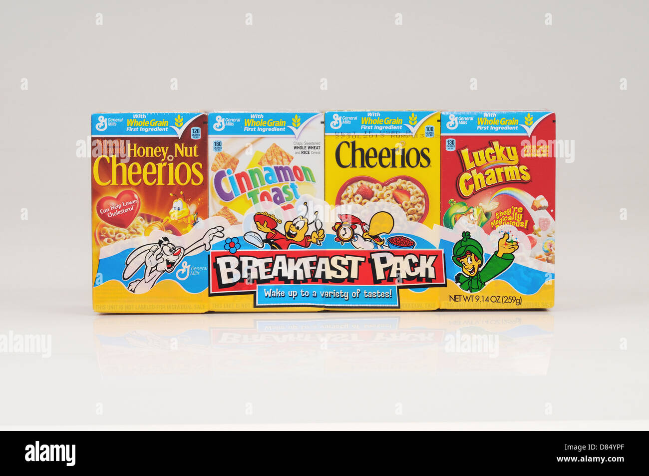Boxes of General Mills cereal breakfast pack on white background cutout. USA - Stock Image