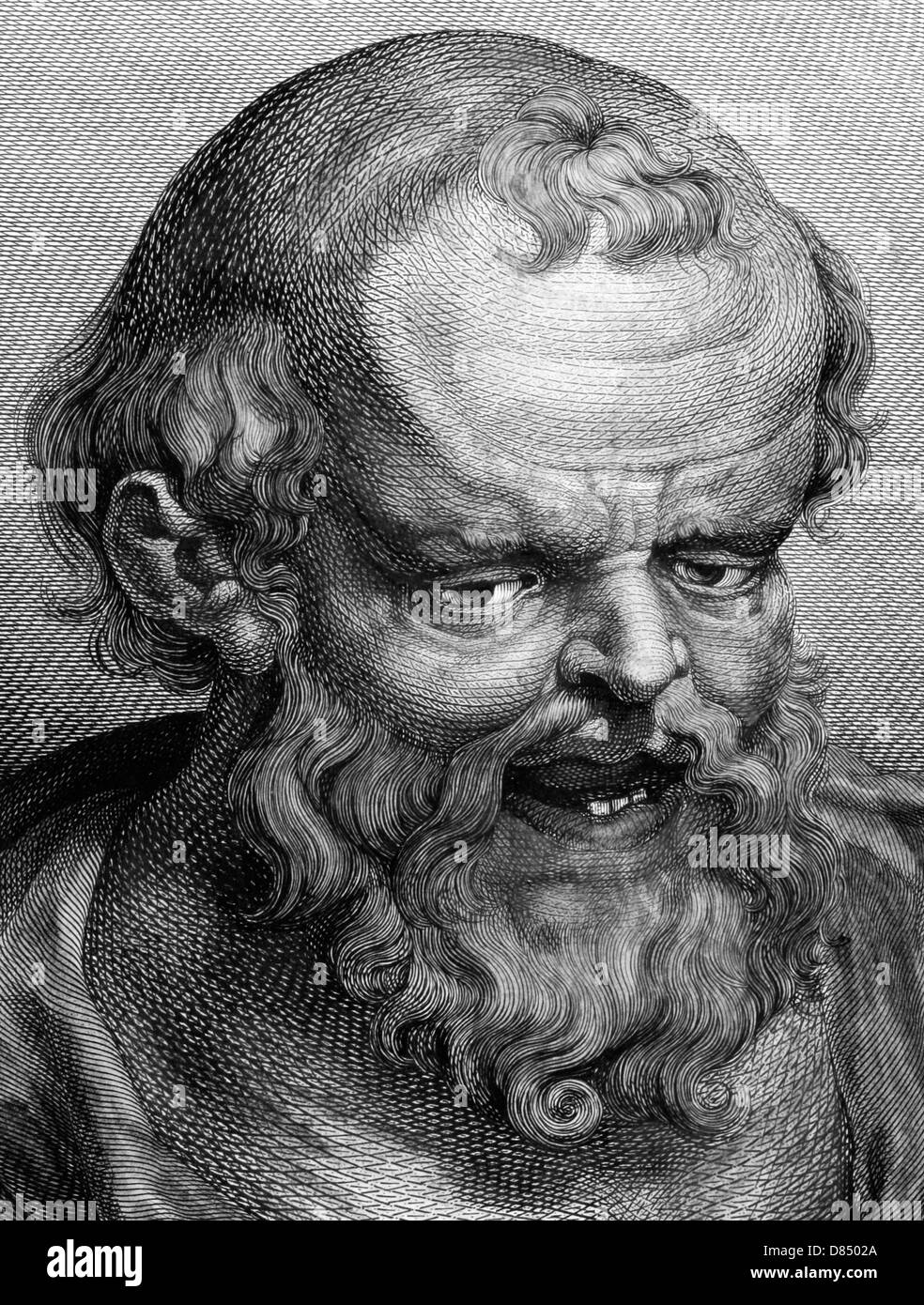 Democritus (460BC-370BC) on engraving from 1788. Ancient Greek philosopher. The most influental pre-ocratic. - Stock Image