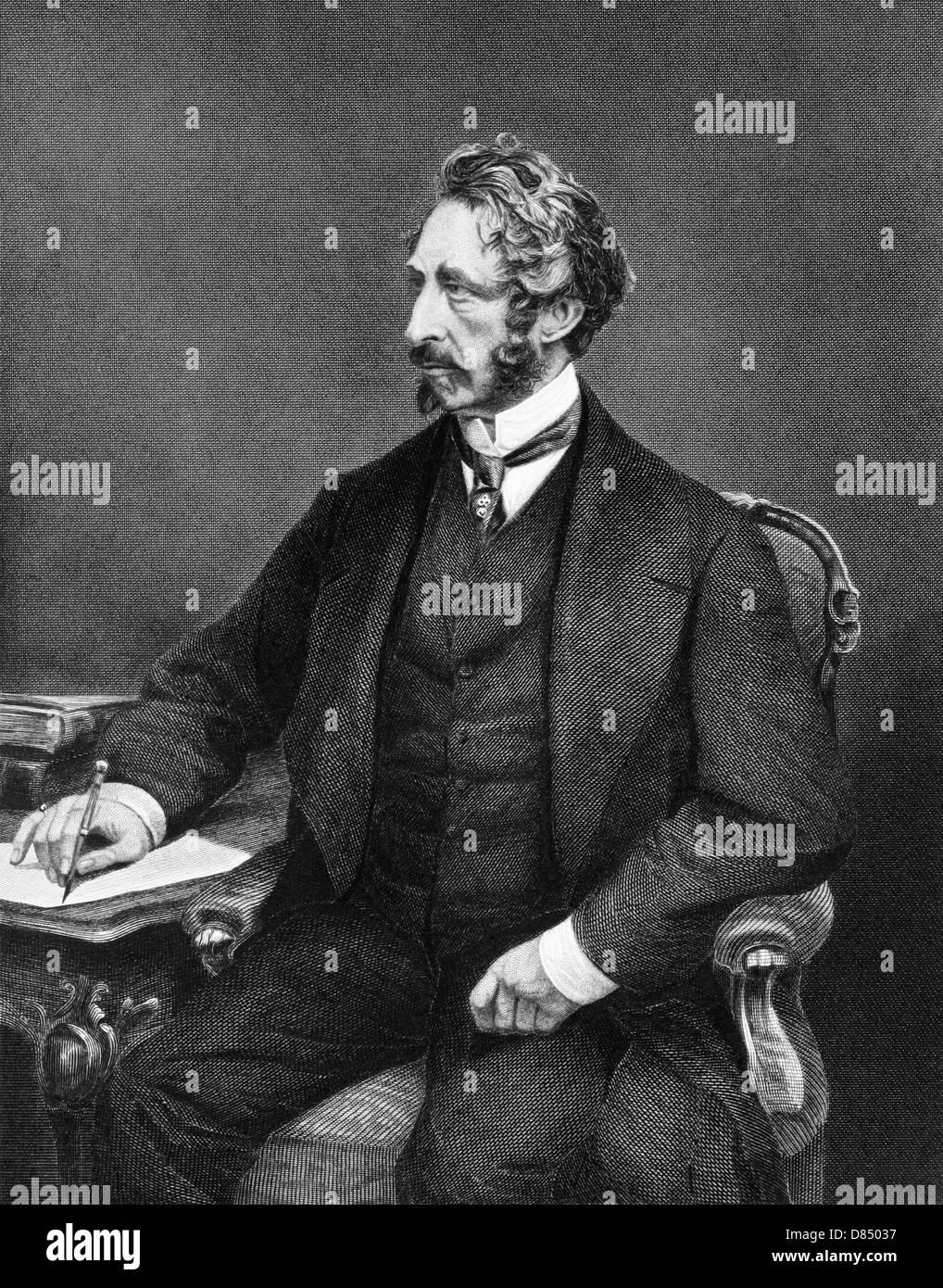 Edward Bulwer-Lytton, 1st Baron Lytton (1803-1873) on engraving from 1873. English novelist, poet, playwright and Stock Photo