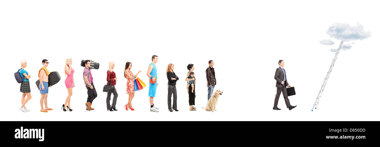 Full length portraits of people waiting in a line and a businessman walking towards a ladder with clouds, isolated - Stock Image
