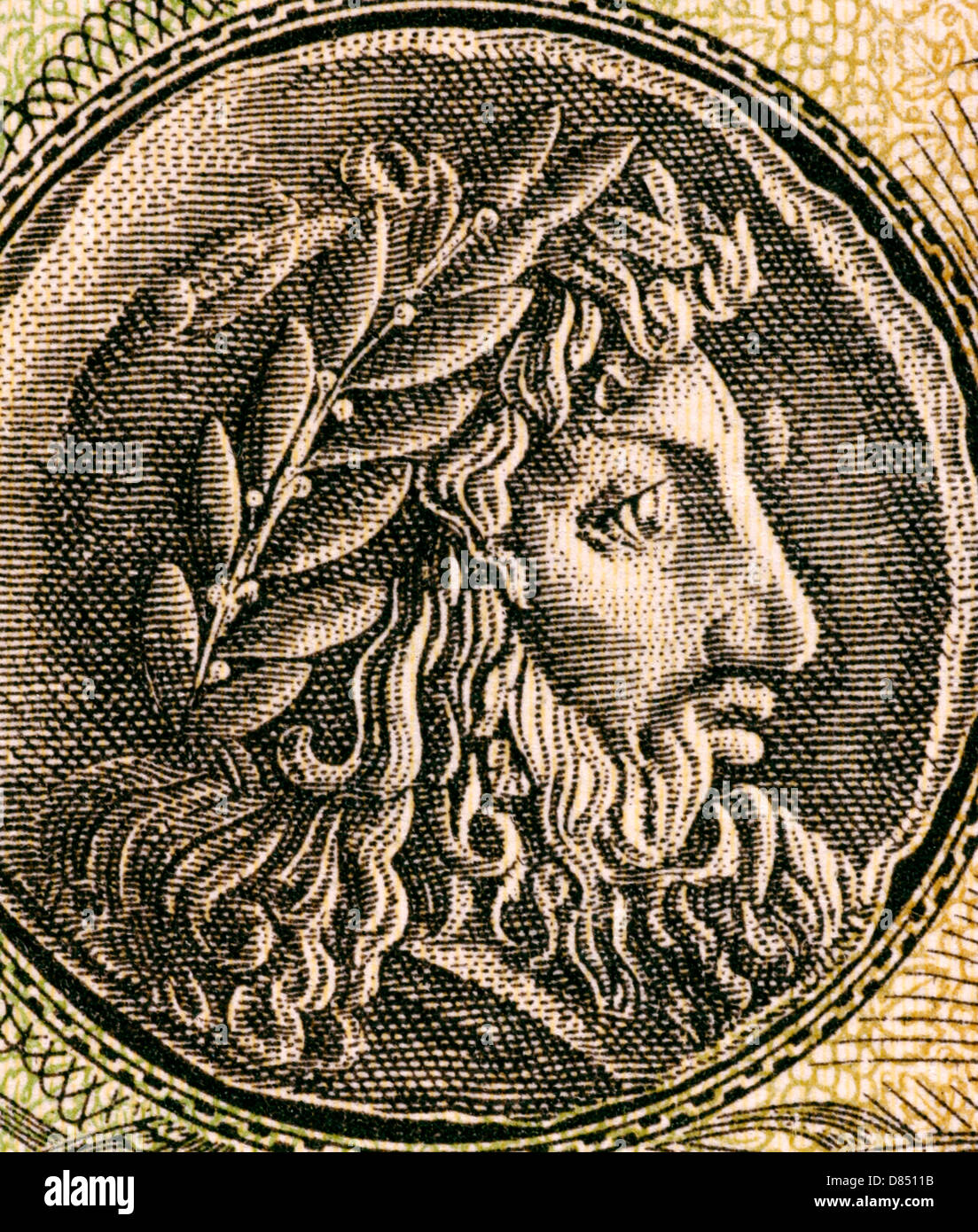 Philip II of Macedon (382–336 BC) on 1000 Drachmai 1950 Banknote from Greece. - Stock Image