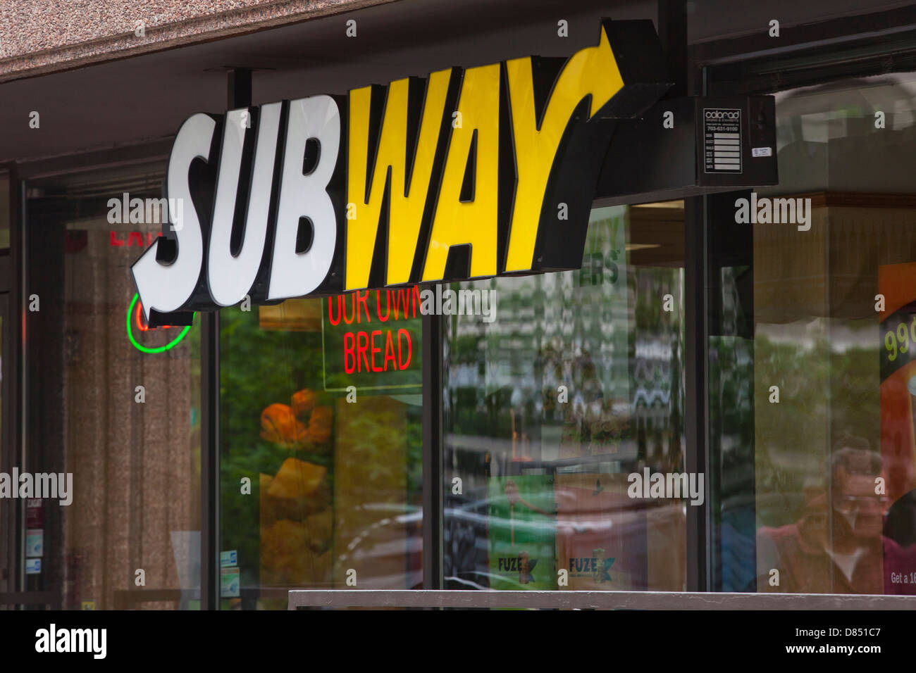 Subway restaurant sign - USA - Stock Image