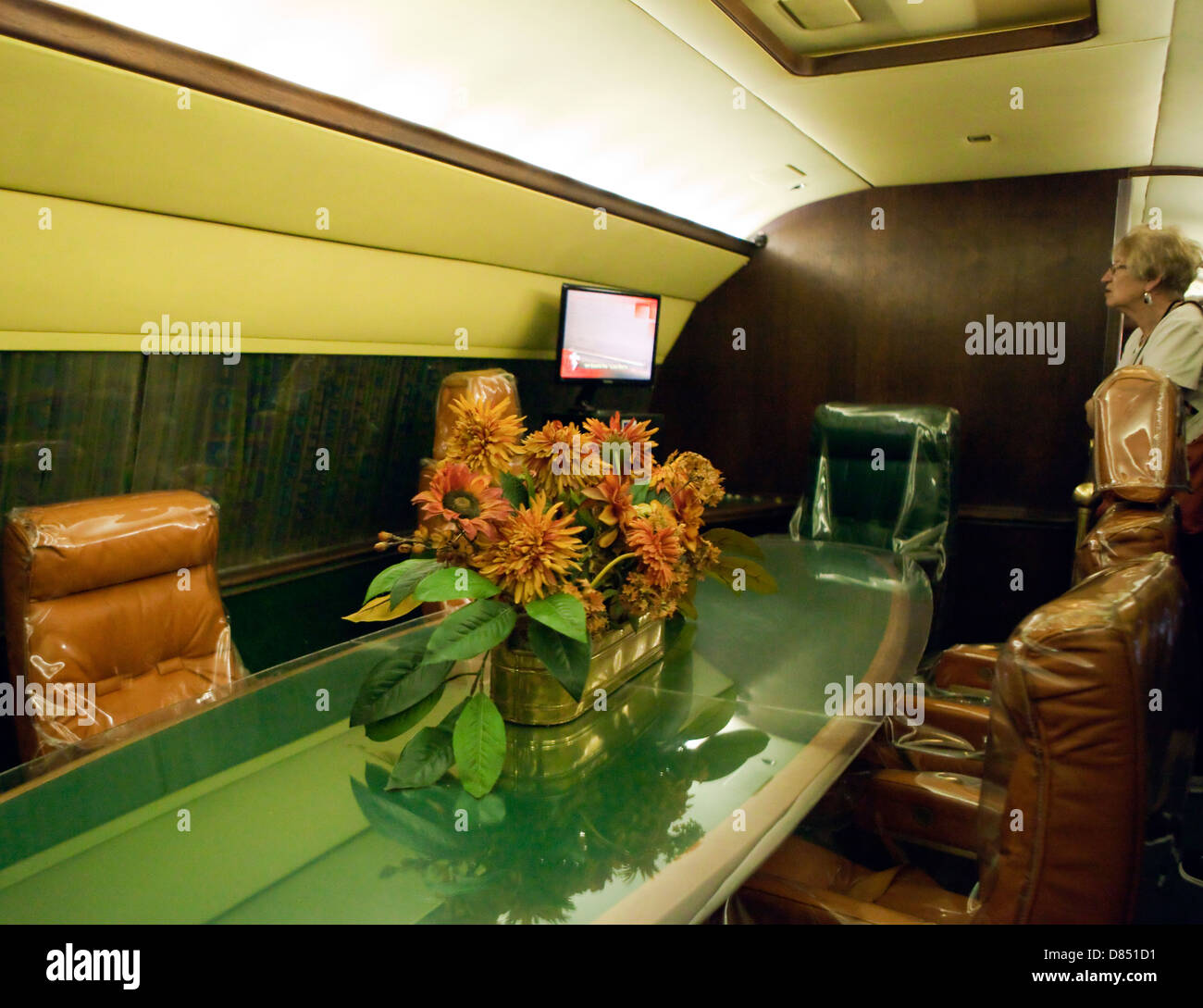 A view of a table in Elvis Presley's private plane, the Lisa-Marie - Stock Image