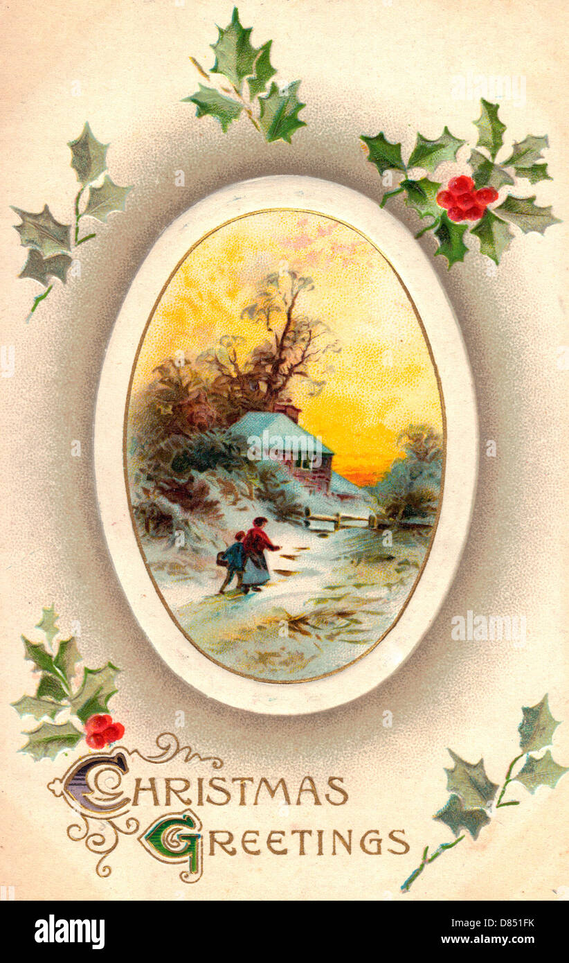 Christmas Greetings - Vintage Card with Winter Scene and Holly - Stock Image