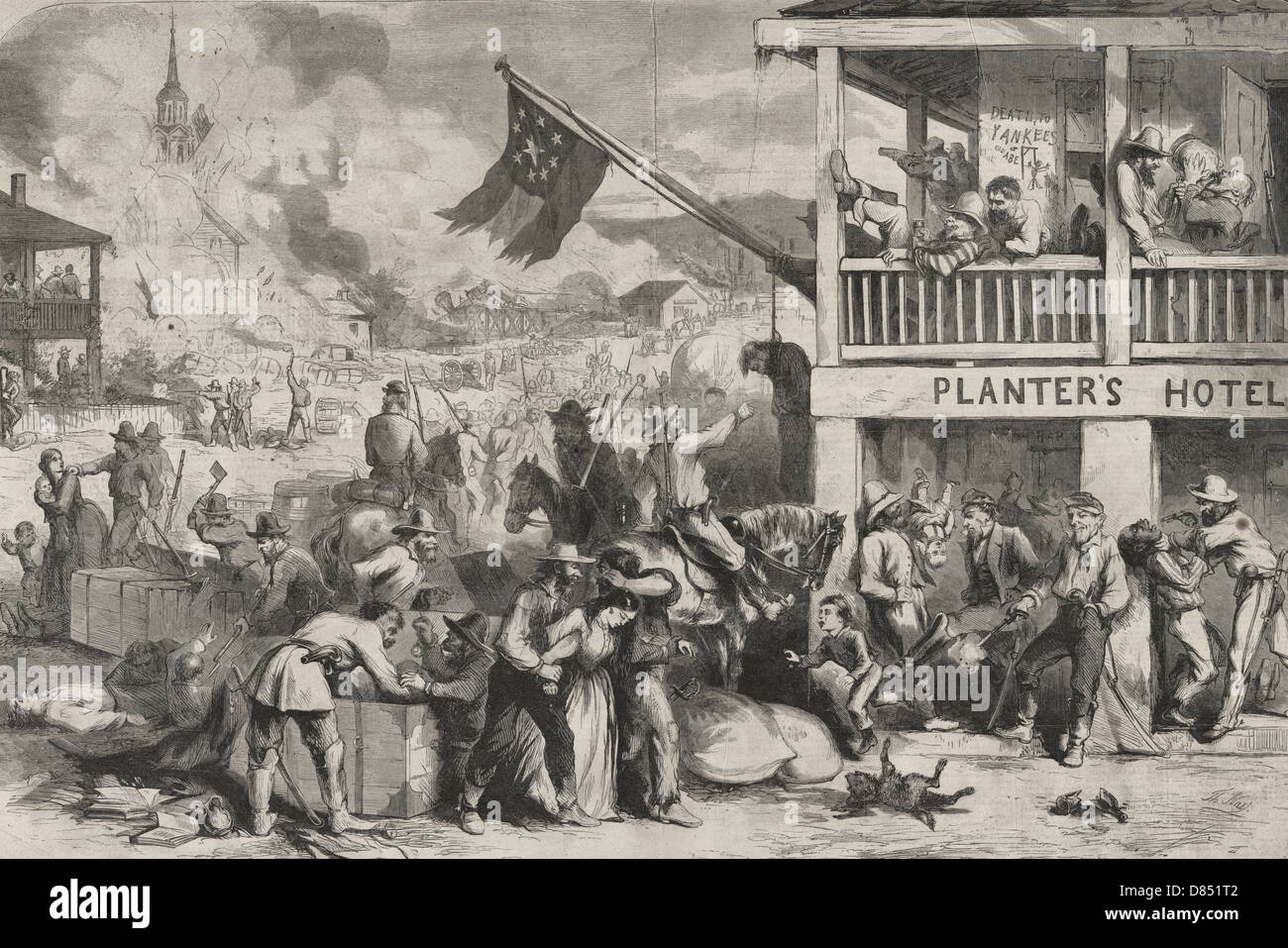 A Rebel guerrilla raid in a western town - a raid on a western town by a group of Confederate guerrillas who are - Stock Image