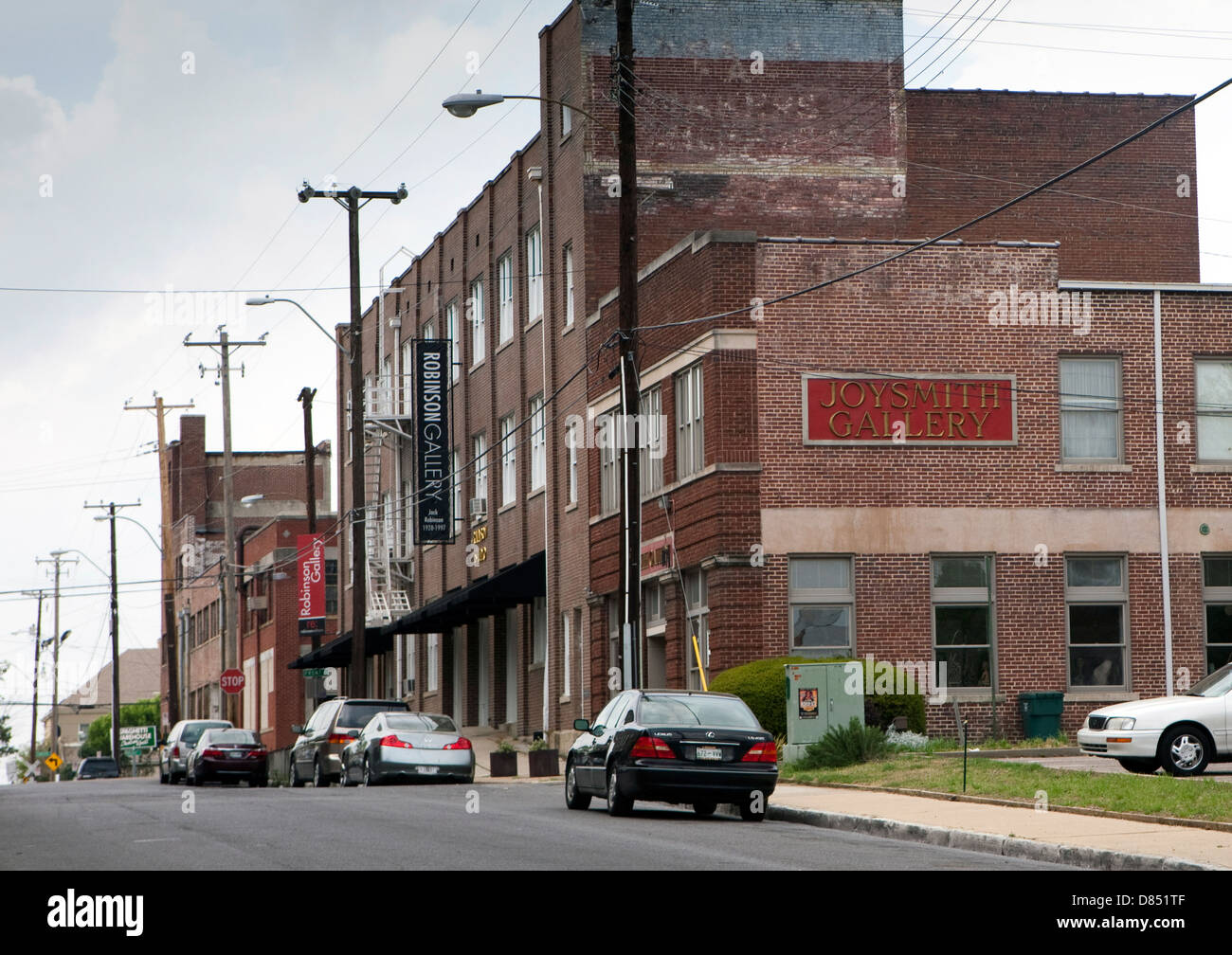 A view of art galleries in downtown Memphis, Tennessee - Stock Image