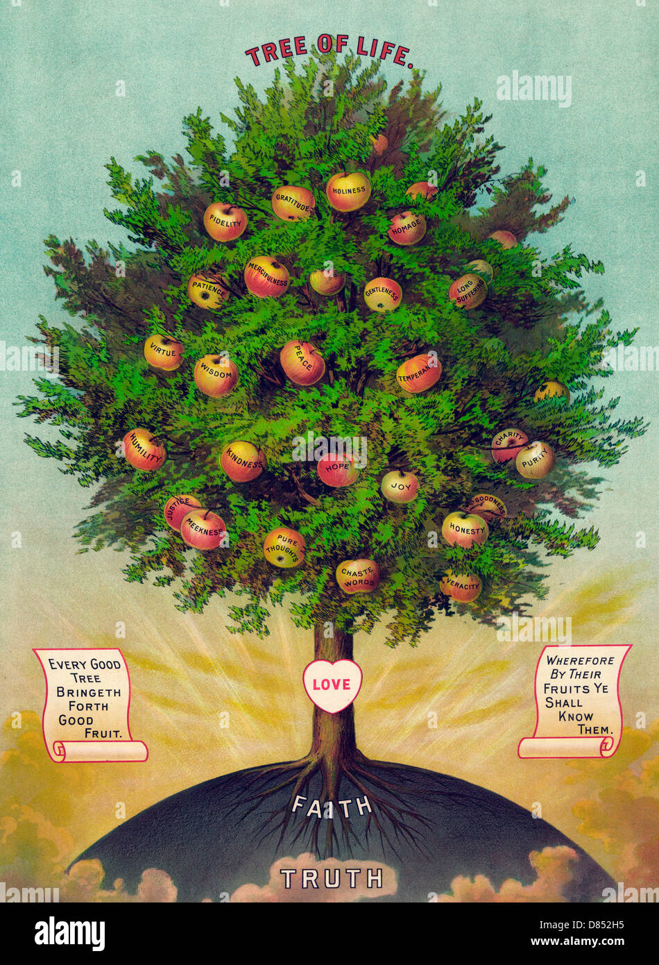 The Tree of Life with fruits labelled with various virtues Stock Photo