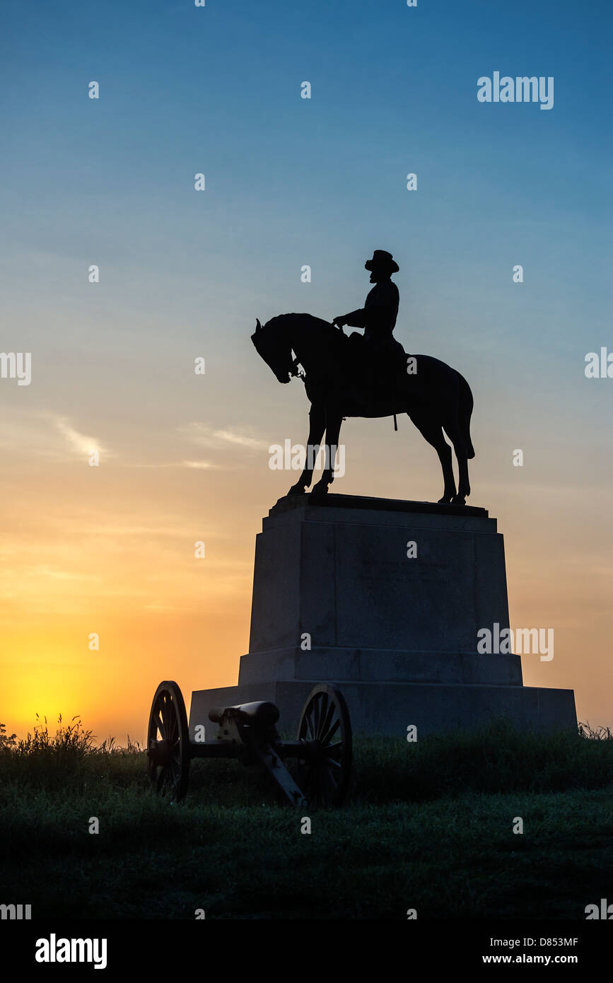 General Howard Monument, Cemetery Hill, Gettysburg National Military Park, Pennsylvania, USA - Stock Image