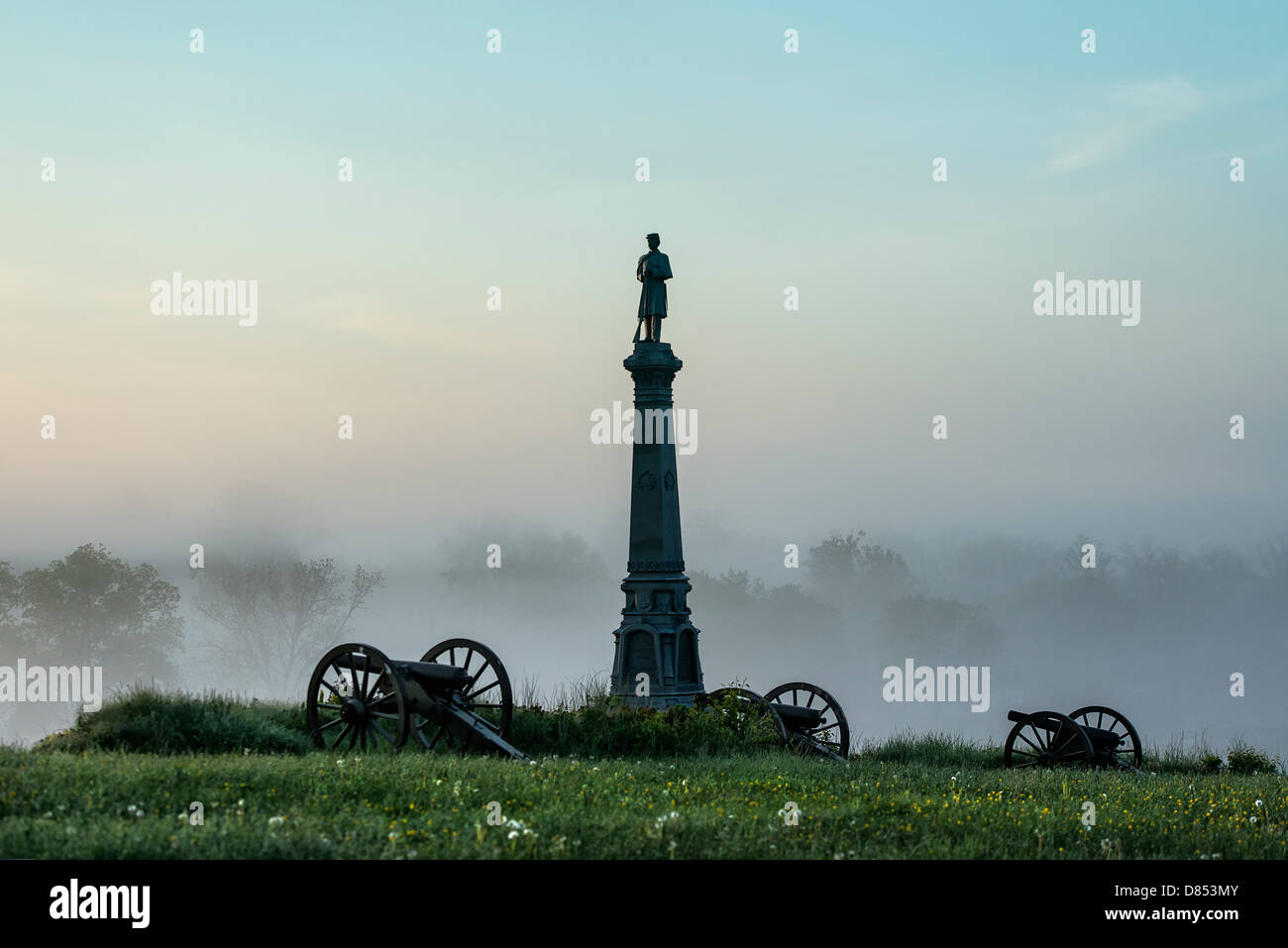 Ohio Monument, Cemetery Hill, Gettysburg National Military Park, Pennsylvania, USA - Stock Image