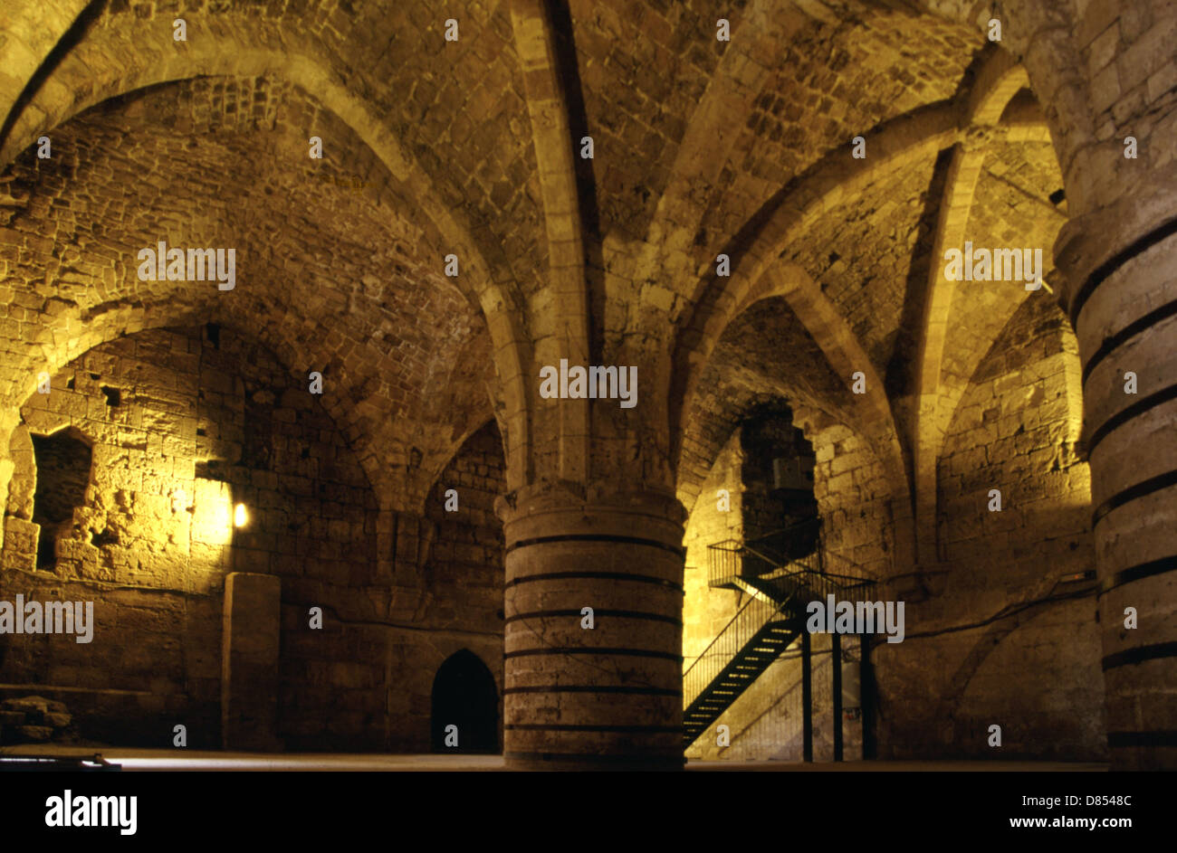 The Knights' Halls of the Subterranean Crusader citadel in Acre or Akko Northern  Israel - Stock Image