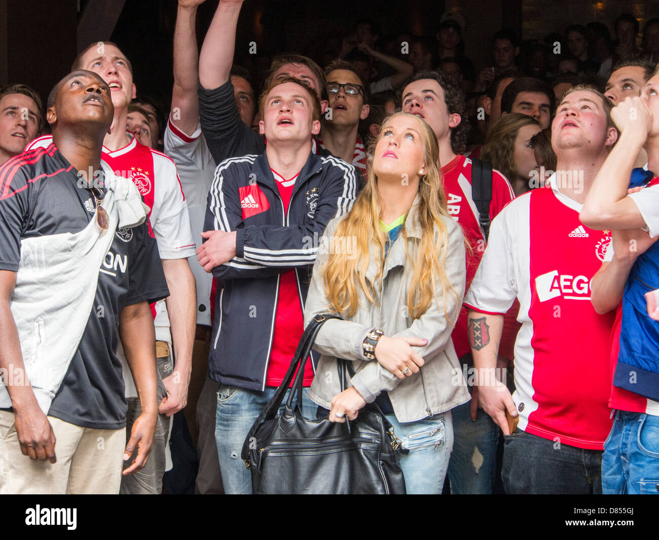 Ajax football club fans celebrate their club winning the chapionship in Amsterdam, Netherlands. - Stock Image