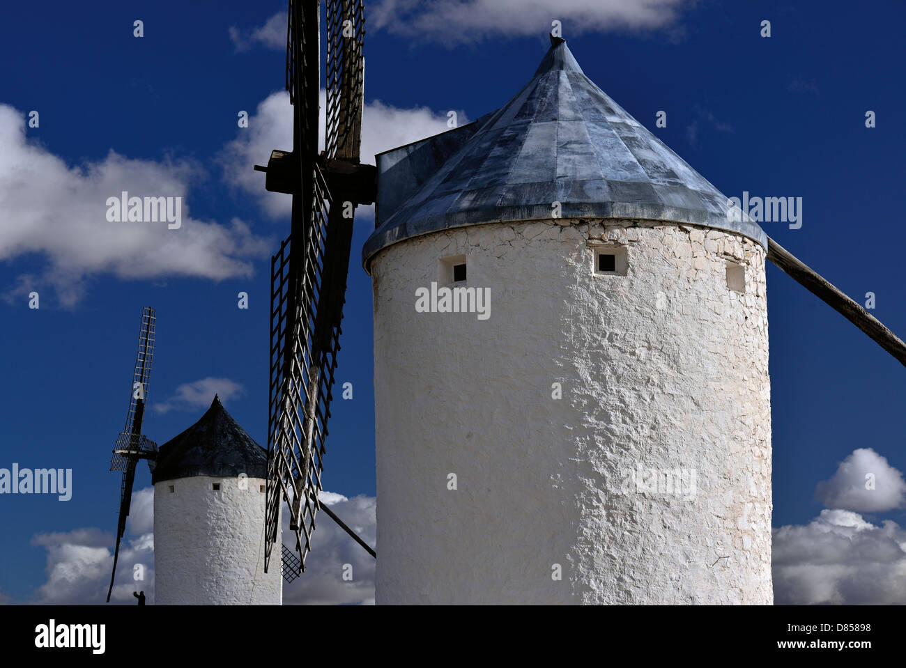 Spain, Castilla-La Mancha: Detail of two windmills of Consuegra - Stock Image