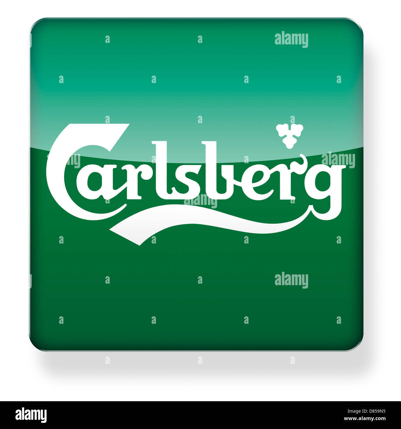 Carlsberg logo as an app icon. Clipping path included. - Stock Image