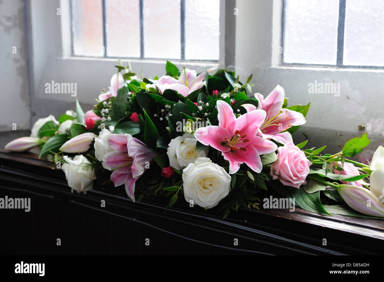 Pink And White Flowers Decorate Church For Wedding Lilies And Roses