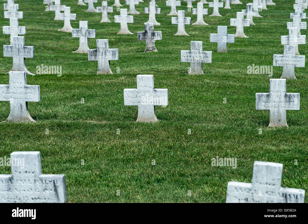 Cemetery for Daughters of Charity religious order of nuns, Elizabeth Seton National Shrine, Emmitsburg, Maryland, - Stock Image
