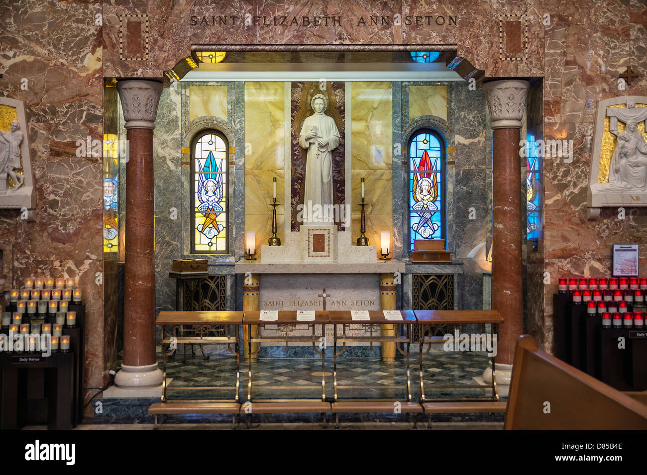 Altar of Relics at the Basilica of the National Shrine of St. Elizabeth Ann Seton, Emmitsburg, Maryland, USA - Stock Image