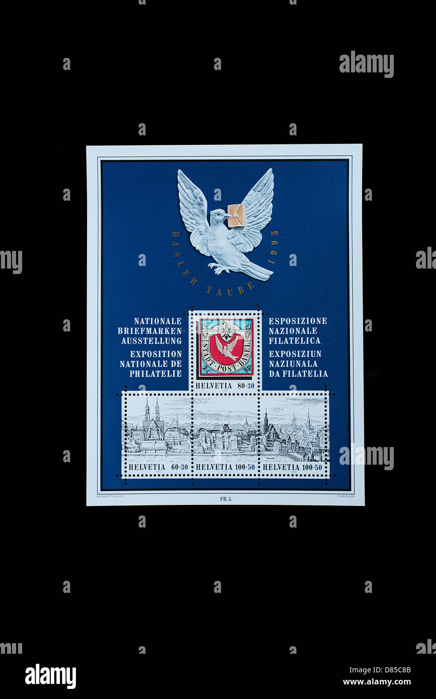 National exposition of philately in a swiss block of stamps - Stock Image