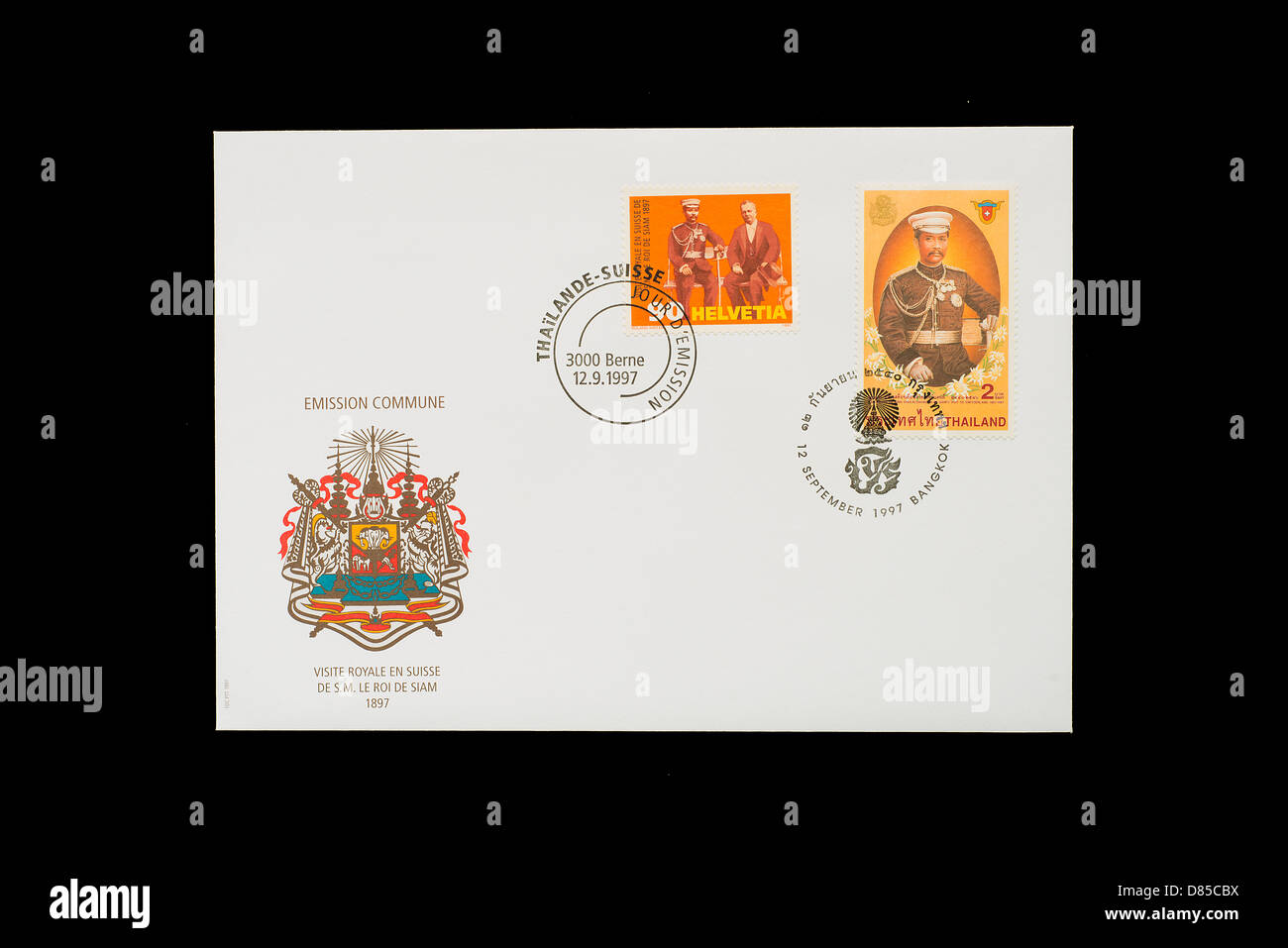 first day cover of common philatelic issue of two stamps swiss and thailandese - Stock Image