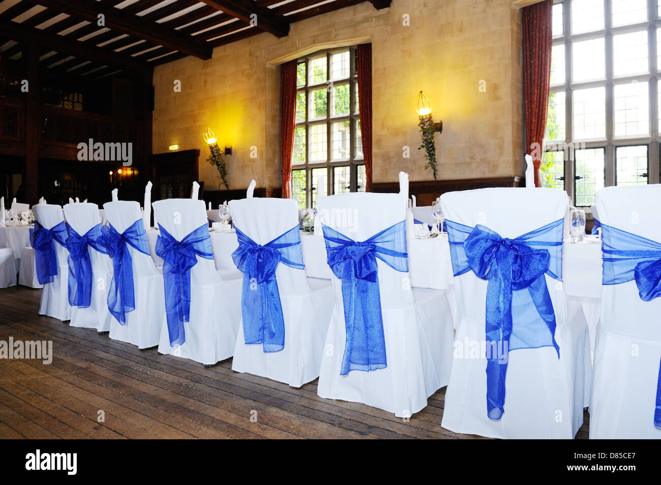 Blue And White Chair Covers At Wedding Reception Stock Photo