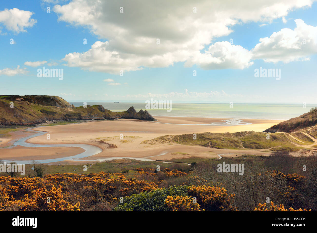 A view of Three Cliffs Bay on the Gower Peninsula in South Wales, UK - Stock Image