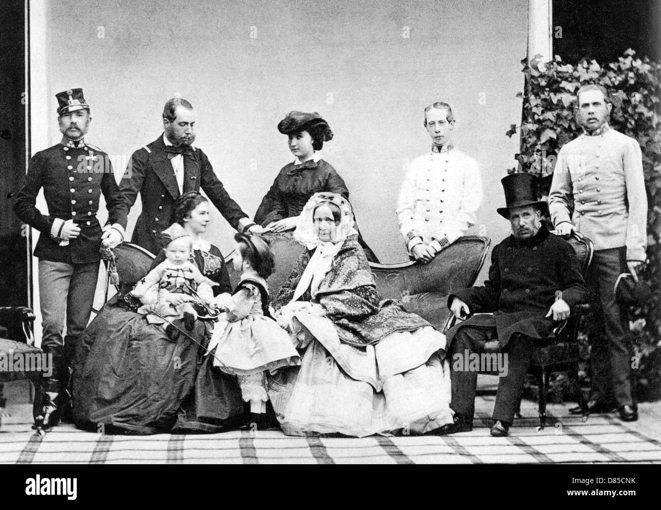 AUSTRO-HUNGARIAN HABSBURG FAMILY PORTRAIT at the Schonbrunn Castle about 1870 - see Description below for names - Stock Image