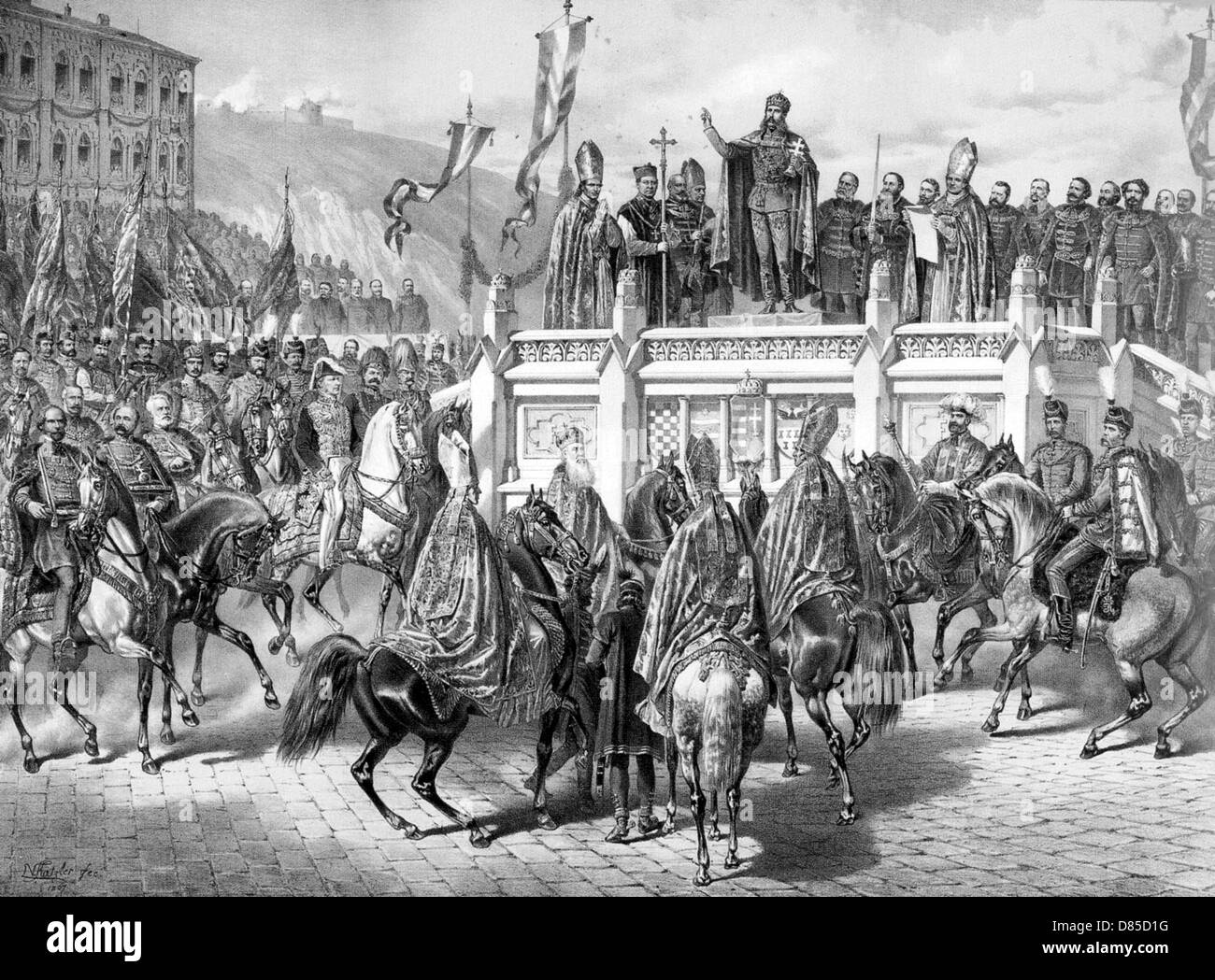 EMPEROR FRANZ JOSEPH OF AUSTRIA (1830-1916) is crowned King of Hungary in Budapest on 8 June 1867 - Stock Image
