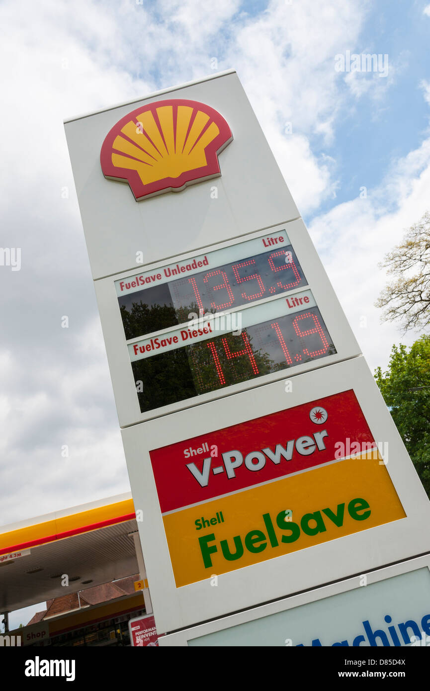 A Shell Petrol Station Price Sign Board Showing Fuel