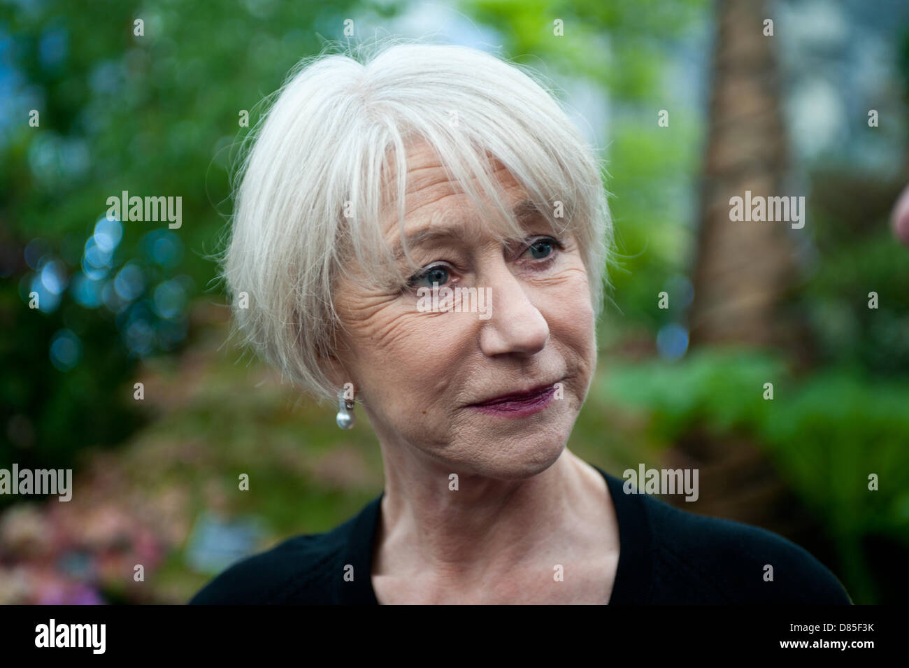 London, UK - 20 May 2013: Dame Helen Mirren visits the Burncoose stand which is designed to illustrate how a garden Stock Photo