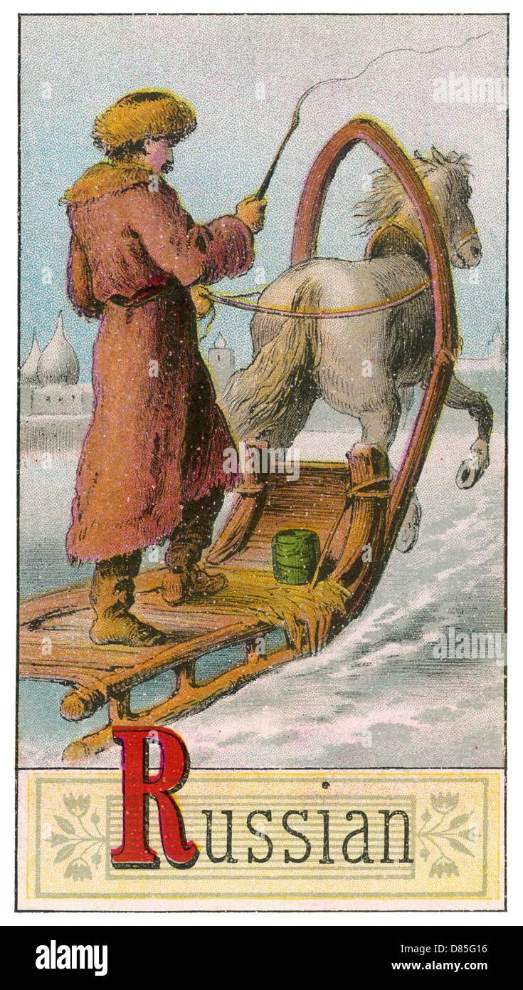 Russian Man Driving Horse Drawn Sleigh Stock Photo