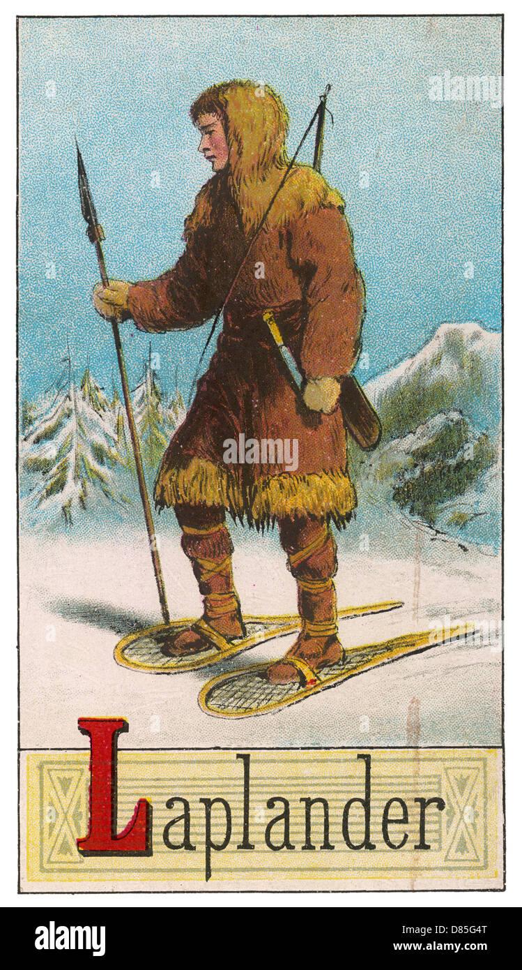 Laplander In Snowy Landscape - Stock Image