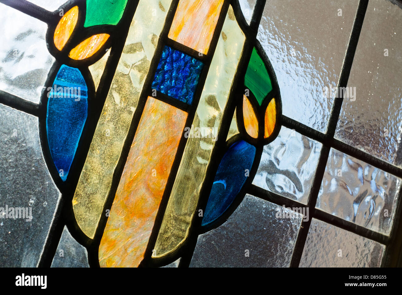 Original stain glass windows - Stock Image