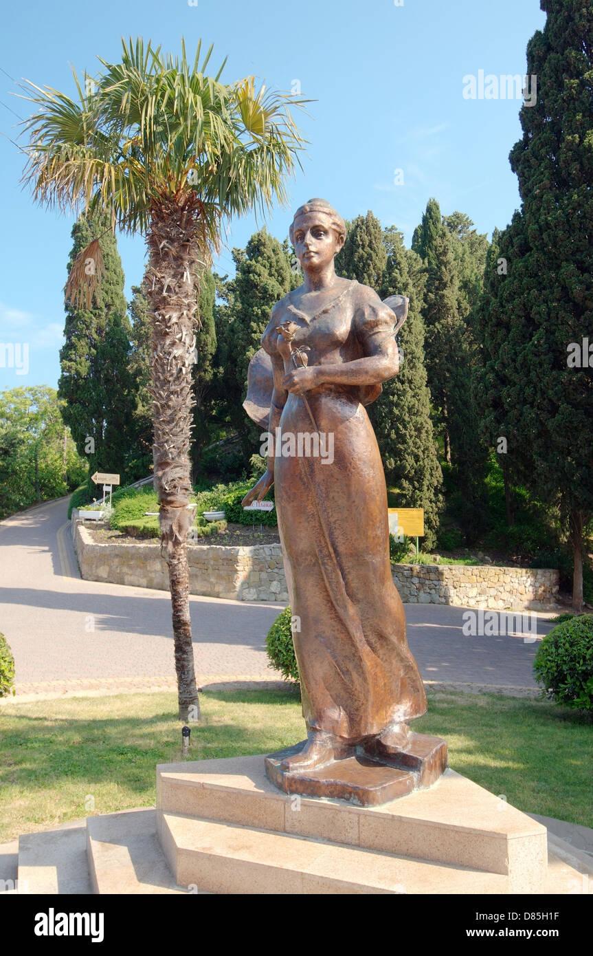 Bronze sculpture of Princess Gagarin, The Greater Alushta, Crimea, Ukraine, Eastern Europe  - Stock Image
